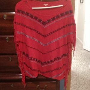 Fringy red cotton tee